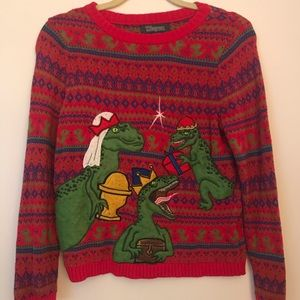 Sweaters - Dinosaur Christmas Sweater